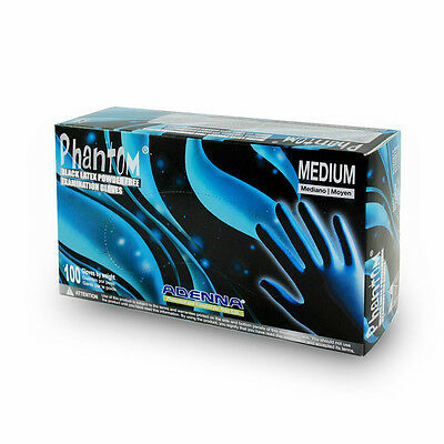 10boxes. Adenna Phantom Latex PF exam gloves. Sz: LARGE, Black. Tattoo Medical