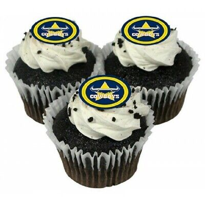 Nth Queensland Cowboys Edible Icing Cupcake Topper NRL Official Birthday Party