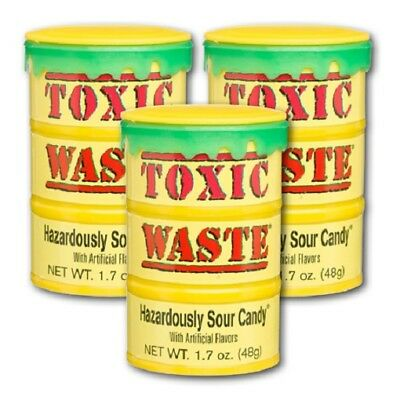 3 x  Toxic Waste Super Sour Candy Drum 48g - Kids party lollies -