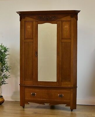 Arts & Crafts Oak Corner Wardrobe Art Nouveau Inlaid Decoration