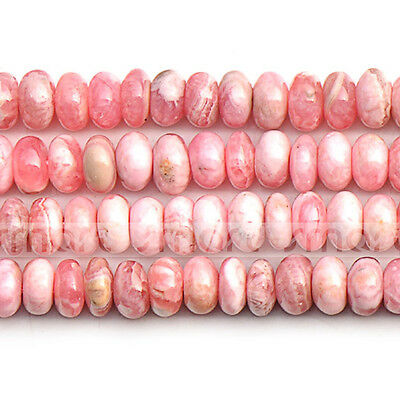 "Natural Rhodochrosite Round Flat Loose Gemstone Beads 15.5"" Strand 3x6mm"