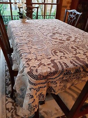Antique Ecru Burano Italian Venice Point De Venise Table Cloth Needlelace 210cm