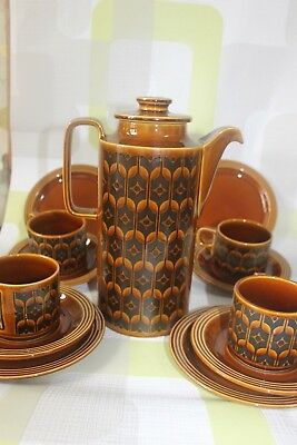 1970s coffee set, HORNSEA,  light & darkbrown  pattern 4 trios and coffee pot.