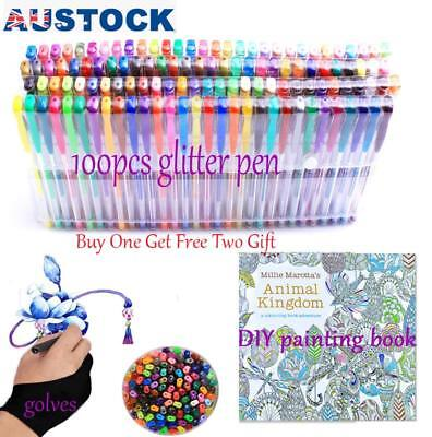 Professional 100 Colours Glitter Gel Pen + Paint Book+ Gloves Draw Neon Metallic