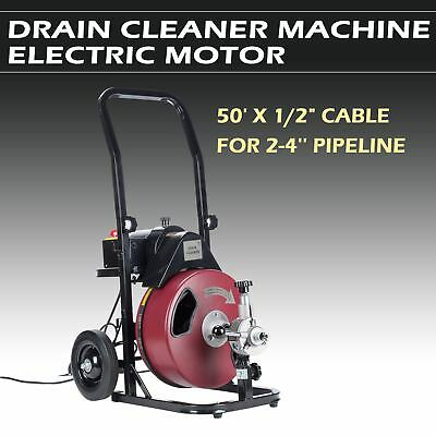 50FT 1/2'' Drain Auger Pipe Cleaner Machine Plumbing Cleaning Machine Flexible