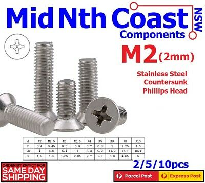 2/5/10pc M2 x 4/5mm Stainless Steel Countersunk Phillips Head Screws / Bolts