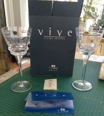 Tyrone Crystal VIVE Living Crystal Still Wine Glasses Set Of 2 NEW BOXED
