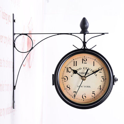 Antique Metal Double Sided Wall Mount Station Clock Vintage Garden Home Decor