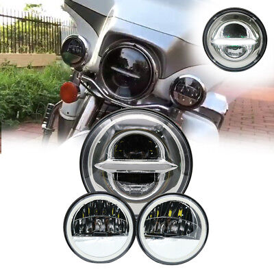 """7"""" Chrome LED Projector Daymaker Headlight Passing Lights DRL For Harley Touring"""