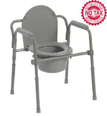 Commode Chair Folding Bedside Seat With Bucket And Splash Guard