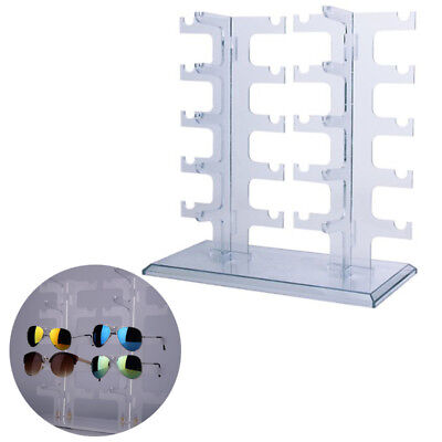 Double 2 Row Sunglasses Glasses Rack Holder Frame Display Stand Transparent New