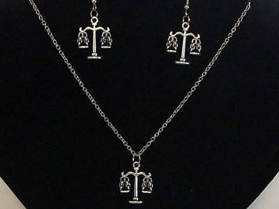 1 Set Pretty Antique Silver Scales of Justice Charm Necklace and Earrings