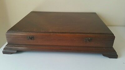 Vintage 1967 Large Emty Wooden Cutlery Box With Silk Velvet Lining PICK -UP 334O