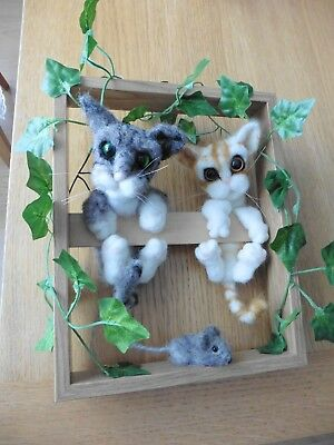 Hand Made Needle Felted Framed Kittens Looking For A Mouse