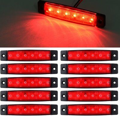 Universal 10Pcs Side Marker Light Trailer Truck 6-SMD Clearance LED Red Lamps