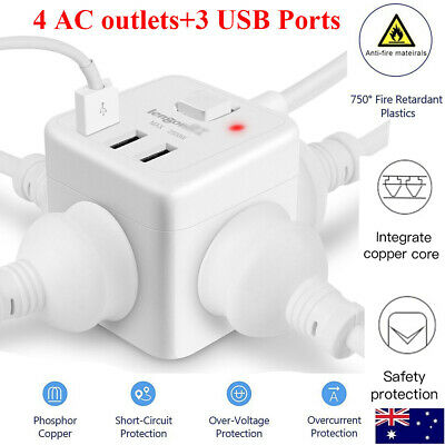 AU Cube 4 Socket Power Board Extension Cord/ 3 USB Charger Ports/Surge Protector