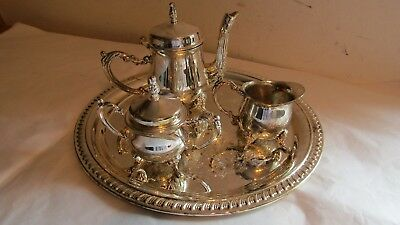GODINGER Silverplate Art CO LTD Silver Plated 4 Piece Tea Set with Tray
