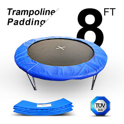 8FT-6 POLES Trampoline 6 LEGS Net+Springs Cover Pad Blue Replacement Safty