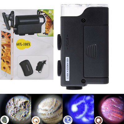 60-100X Magnification LED Lighted Illuminated Magnifier Handheld Jewelers Loupe