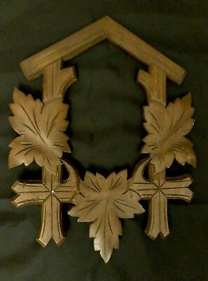 VTG Wooden Carved Maple Leaves Cuckoo Clock Part Front Face Trim Parts Repair
