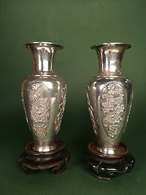 Antique Chinese Export Sterling Silver Pair Of Vases, High Quality
