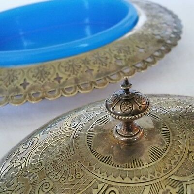 Baby Blue Glass Lined Finely Pierced & Chased Silver Plate Covered Dish!