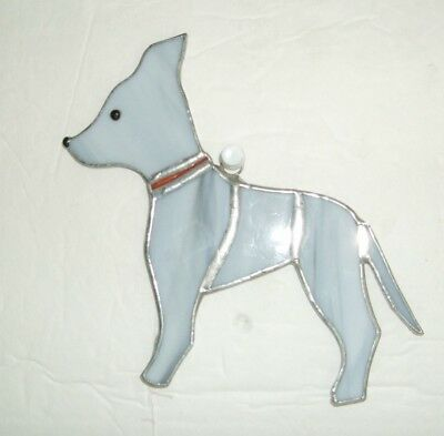 Stained glass suncatcher dog new hand made