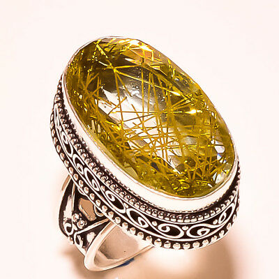 """Graceful Look Golden Rutile With Vintage Design 925 Silver Ring Size -7"""""""