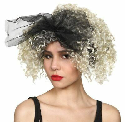 Adult Ladies 80s Wild Child Material Girl Madonna Fancy Dress Singer Wig Bow
