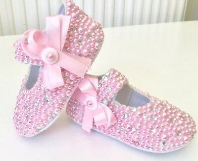 Customised Pink romany bling baby girl Pram Shoes Diamanté and pearls