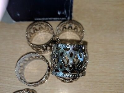 6 pc silver plated serviette rings