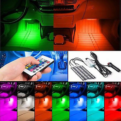 4x 9LED Remote Control Colorful RGB Car Interior Floor Atmosphere Light Strip