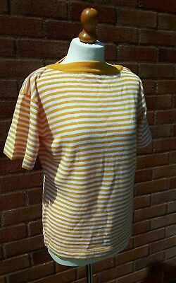 Jaeger short sleeve yellow & white striped knitted top vintage unworn with tags