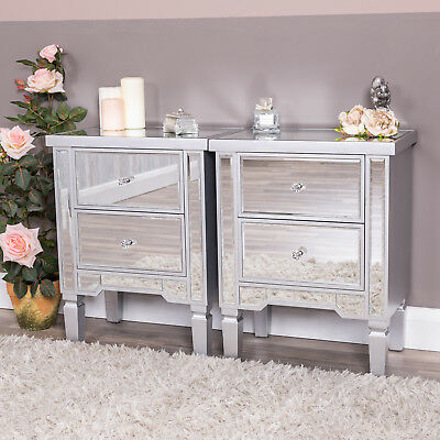 Pair Of Silver Mirrored Bedside Tables Chest of 2 Drawer Lamp Cabinet Venetian