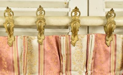Fantastic Set 18 Antique French Brass Acanthus Leaf Chateau Curtain Rings, 19thC