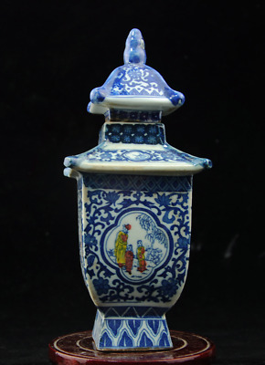 Chinese old Blue and White porcelain pagoda form pot  /qianlong mark 64 c01