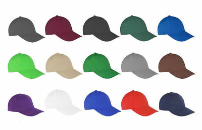 Mens Ladies Low Profile Plain Baseball Cap Sports Leisure Unisex Colours Summer