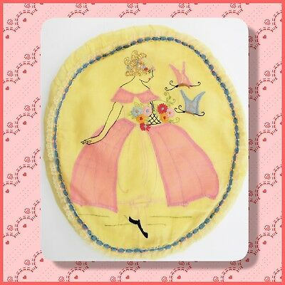 True vintage 1920's 30's embroidered oval pillow cover Belle with butterflies