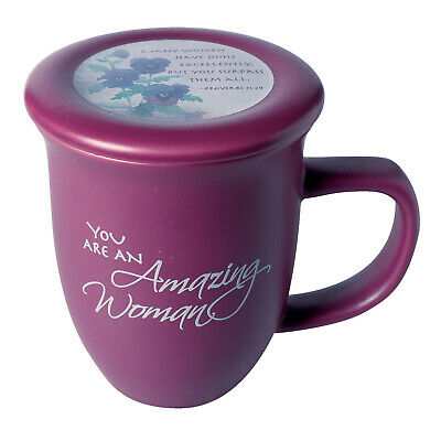 Amazing Woman Ceramic Mug &Coaster/Lid - 14 Ounce Coffee/Tea Cup - Dusky Purple