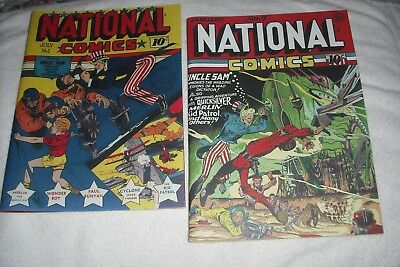 National Comics#-1,7( 1940/42 ), 2 Nice Outside,inside Facsimile Covers Only