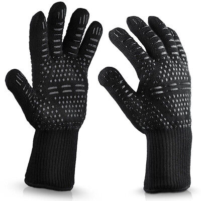 Extreme Heat Resistant BBQ Gloves - Lining Cotton - For Cooking Baking Grilling