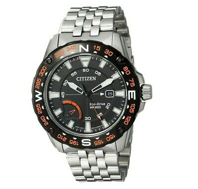 Citizen Eco-Drive Men's AW7048-51E PRT Black Compass Dial Silver-Tone 44mm Watch