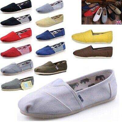NEW Mens Womens Flat Slip On Espadrilles Pumps Canvas Plimsolls Shoes Size 2-10