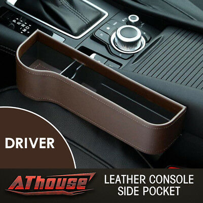 Leather Console Side Pocket Organizer Car Seat Catcher Cup Holder Brown US STOCK