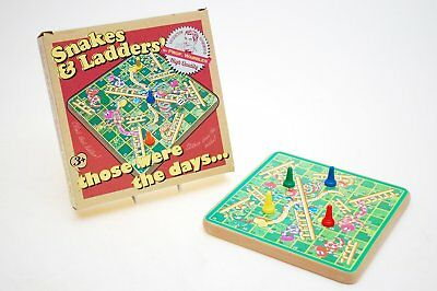 Snakes and Ladders Retro Wooden Kids Traditional Classic Travel Board Game Fun
