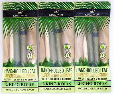King Palm King Rolls 3 Packs Natural Leaf w/ Filter 6 Wraps w/ Packing Stick