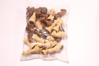 Replacement Plastic Magnetic 32 Chess Pieces King Size 45mm /24mm White & Brown