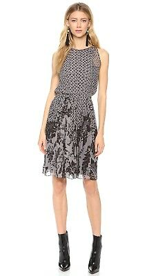 8b904839b5 $398 Diane von Furstenberg DVF RIA Lace Flutter Black Pleated Chiffon Dress  4