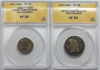 Pair of 1803-dated Kettle Tokens, Pollock 8001 & 8020, ANACS VF30 & VF35