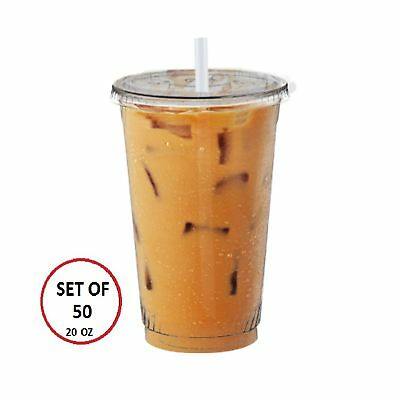 Scotty's Set of 50 Clear Iced Coffee Cups with Lids - 20 oz Cups  .